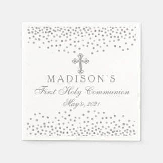 Silver Confetti Communion Personalized Napkin Disposable Serviette