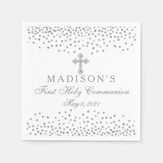 Silver Confetti Communion Personalized Napkin Paper Napkin