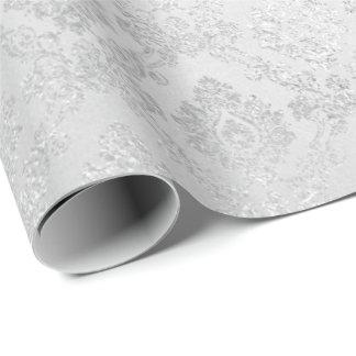 Silver Confetti Damask Royal Princess Glam Vip Wrapping Paper