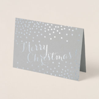 Silver Confetti Dots Modern Merry Christmas Gray Foil Card