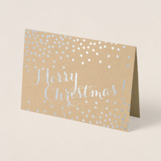 Silver Confetti Dots Modern Merry Christmas Kraft Foil Card