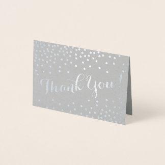 Silver Confetti Dots Modern Thank You Gray Foil Card