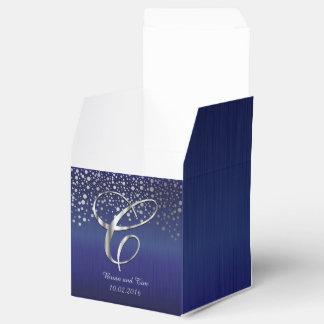 Silver Confetti Dots | Sapphire Blue- Letter C Party Favour Boxes