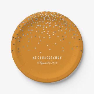 Silver Confetti Elegant Glitter Orange Wedding 7 Inch Paper Plate