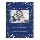 Silver Confetti Elegant Navy Photo Save the Date Postcard