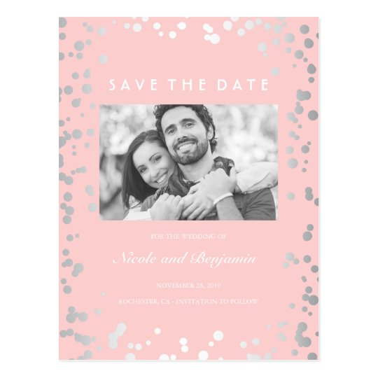 Silver Confetti Elegant Pink Photo Save the Date