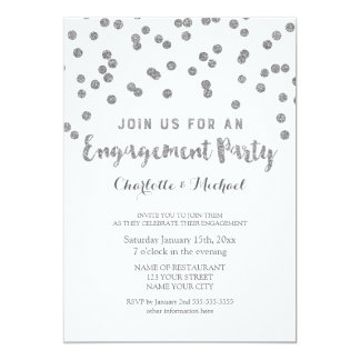 Silver Confetti Engagement Party Invitation