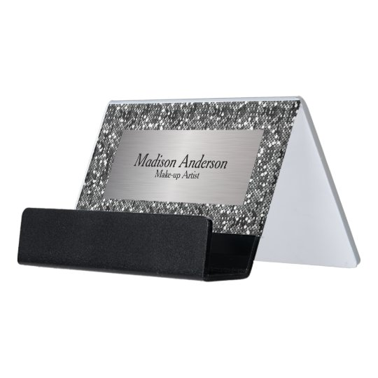 Silver confetti glitter print diy text desk business card holder silver confetti glitter print diy text desk business card holder reheart Image collections