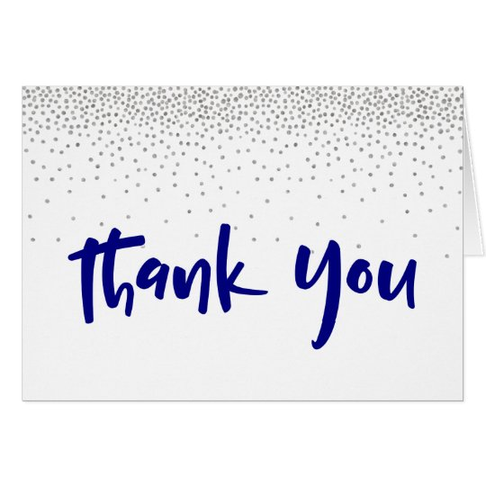 Silver Confetti/Navy 1 Typography Modern Thank You Card
