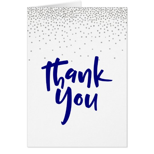 Silver Confetti/Navy 2 Typography Modern Thank You Card