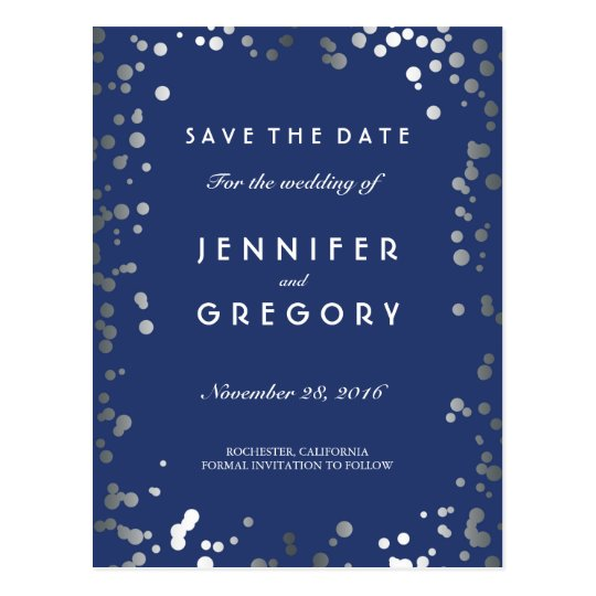 Silver Confetti Navy Elegant Save the Date Postcard