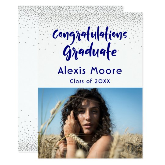 Silver Confetti Navy Photo Graduation Announcement