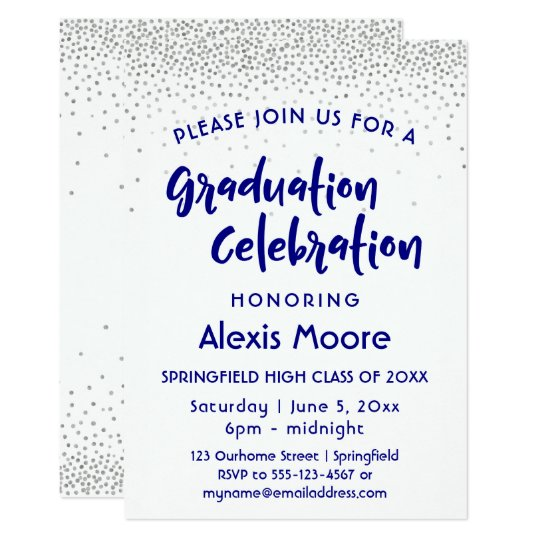 Silver Confetti & Navy Typography Graduation Party Card