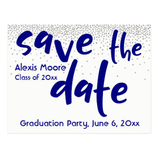 Silver Confetti Navy Typography Save the Date 1 Postcard
