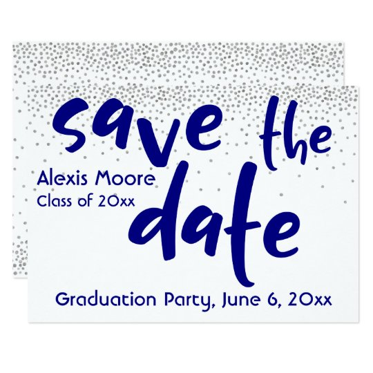 Silver Confetti Navy Typography Save the Date 1b Card