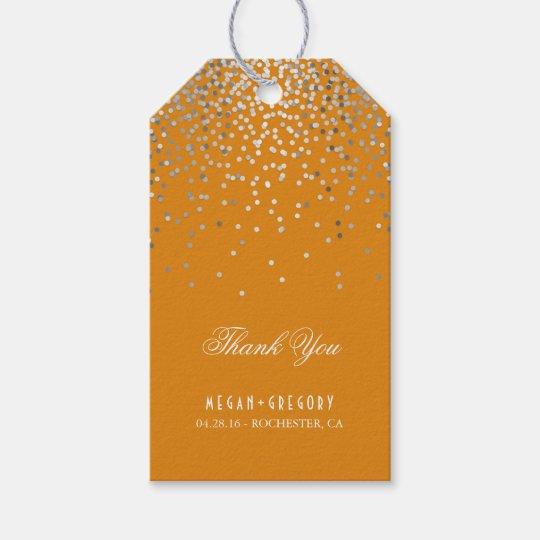 Silver Confetti Orange Wedding Thank You Gift Tags