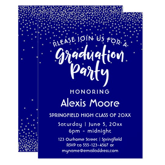 Silver Confetti Over Navy, Graduation Party 2 Card