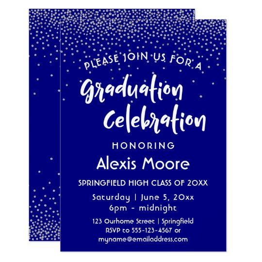Silver Confetti Over Navy, Graduation Party Card