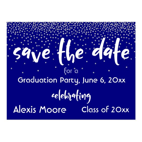 Silver Confetti Over Navy, Modern Save the Date 2 Postcard