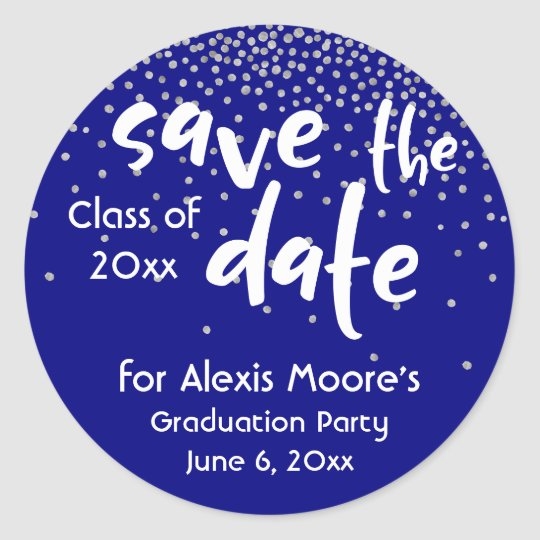 Silver Confetti Over Navy, Modern Save the Date Round Sticker