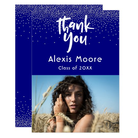 Silver Confetti Over Navy Photo Grad 3 Thank You Card