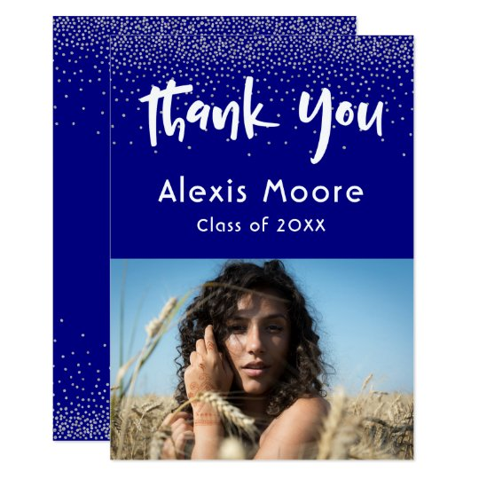 Silver Confetti Over Navy, Photo Grad 4 Thank You Card