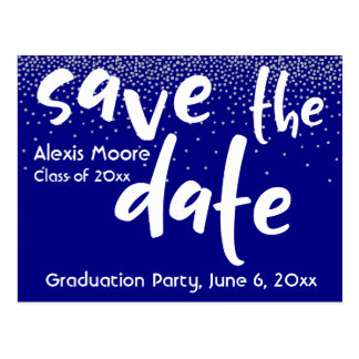 Silver Confetti Over Navy, Save the Date 1 Postcard