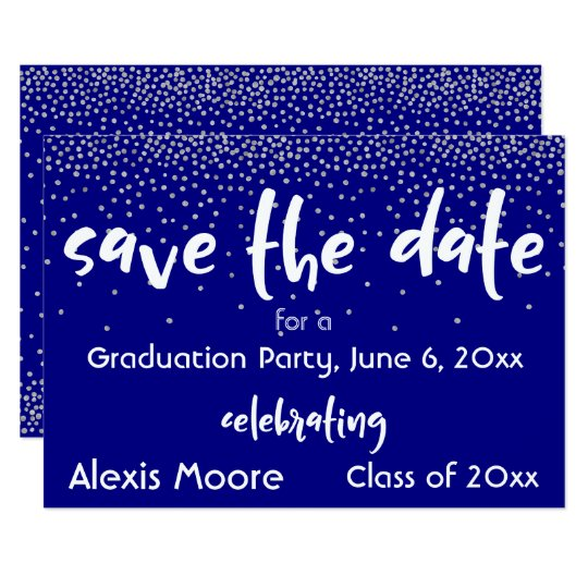 Silver Confetti Over Navy/White, Save the Date 2b Card