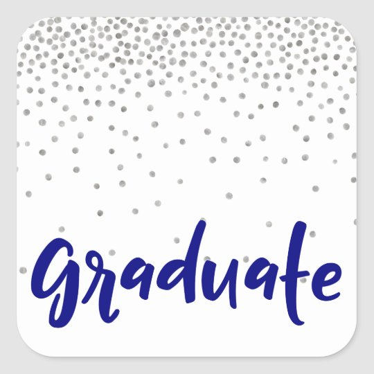 "Silver Confetti Over White: Modern ""Graduation"" Square Sticker"