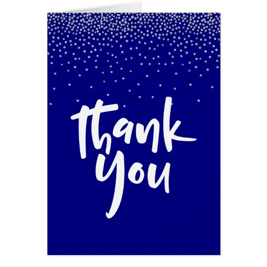 Silver Confetti OverNavy 2, Modern Thank You Card