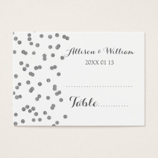Silver Confetti Table Place Setting Cards