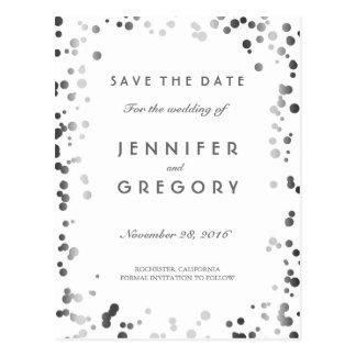 Silver Confetti White Elegant Save the Date Postcard