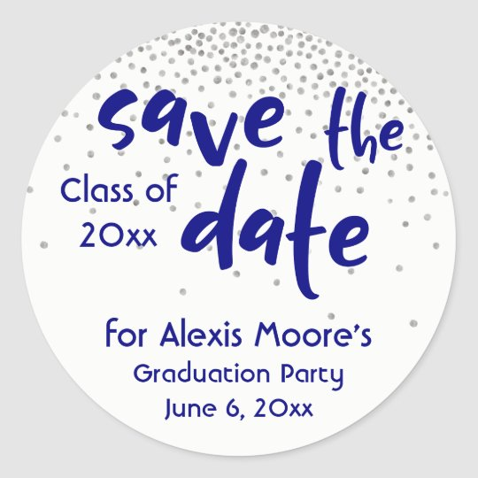 "Silver Confetti with Navy: Modern ""Save the Date"" Round Sticker"