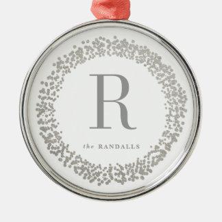 Silver confetti wreath monogram ornament faux foil