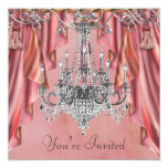Silver Coral Pink Chandelier Party Personalized Announcement