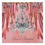 Silver Coral Pink Chandelier Party Invitations