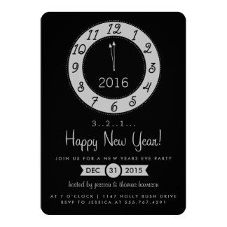 Silver Countdown To Midnight New Years Eve Party 13 Cm X 18 Cm Invitation Card