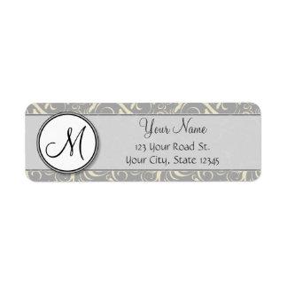 Silver Cream Floral Wisps & Stripes with Monogram Return Address Label