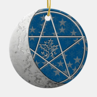 Silver Crescent Moon & Pentacle Double-sided Round Ceramic Decoration
