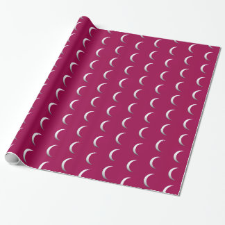 Silver crescent moons - burgundy background gift wrap paper