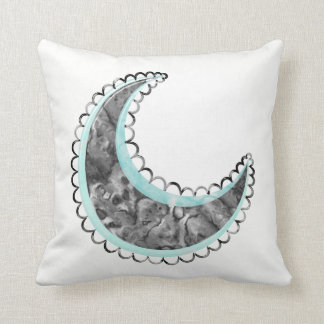Silver cresent throw pillow
