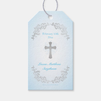 Silver Cross Blue Baptism Gift Tags