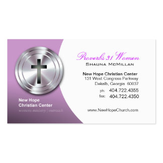 Silver Cross Christian Symbol Minister/Pastor Pack Of Standard Business Cards