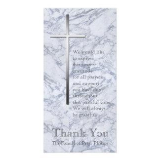 Silver Cross / Marble 2 - Sympathy Thank You Custom Photo Card