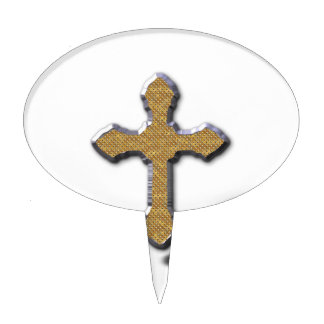 Silver Cross With Gold Metal Jesus Cake Pick