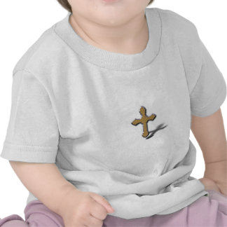 Silver Cross With Gold Metal Jesus Shirts