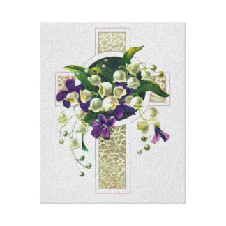 Silver Cross With Purple Flowers Canvas Print
