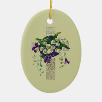Silver Cross With Purple Flowers Christmas Ornament