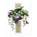 Silver Cross With Purple Flowers Post Cards