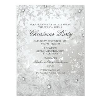 "Silver Crystal Snowflake Christmas Party Invite 6.5"" X 8.75"" Invitation Card"